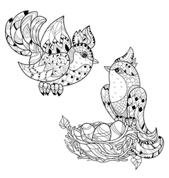 Zentangle sketch bird on nest Hand Drawn doodle vector image