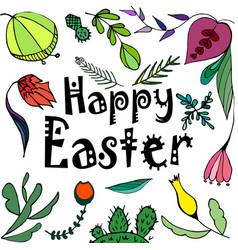 a happy easter greeting card with vector image vector image