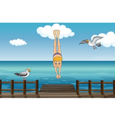 A young gentleman diving vector image vector image