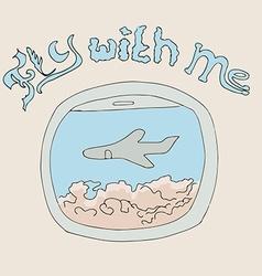 airplane window hand drawn vector image