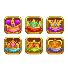 Cool game icons with golden rare crowns vector image vector image