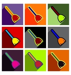 Flat with shadow concept icon broom bright vector