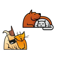 Friendship of dog and cat vector image
