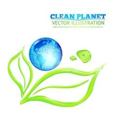 Globe on green leaves vector image