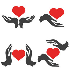 hands hold heart icons vector image vector image