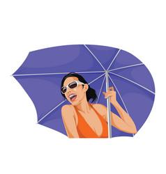 happy woman holding an umbrella vector image vector image