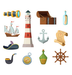 marine objects chest compass treasure vector image vector image