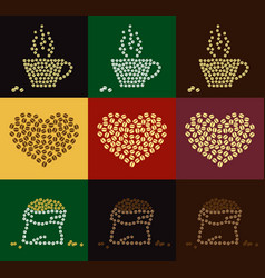 set of coffee bean in coffee cup heart and bale vector image