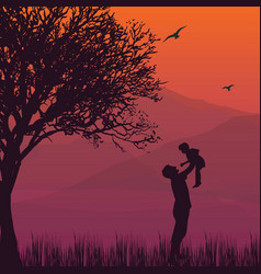 silhouette dad hold up baby son in the air vector image