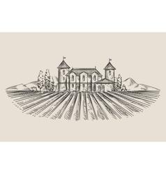 vineyard hand-drawn sketch vector image vector image