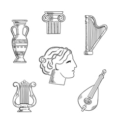 Art and musical instruments sketches vector