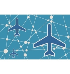 Banner with the image of an aircraft icon vector