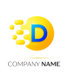 D letter splash yellow dots and circle bubble vector