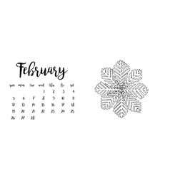 Desk calendar template for month February vector image