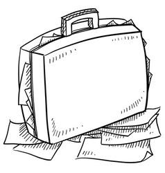 doodle breifcase work stress vector image vector image