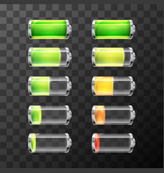 Glossy battery icons with different charge level vector