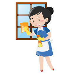 happy maid cleaning window vector image