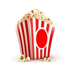 Paper bag full of popcorn vector