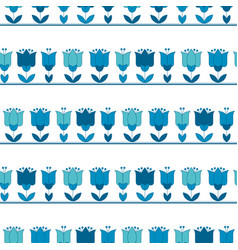bright blue color abstract tulip flower motif vector image