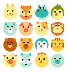 cartoon animal head set vector image
