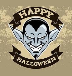 Dracula Head Halloween Badge vector image vector image