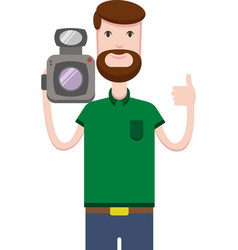 image of man with beard holds video camera vector image