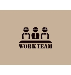 industrial icon with work team vector image