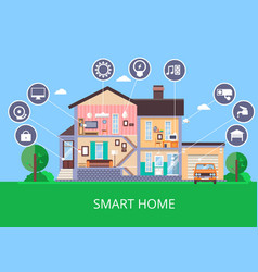 flat smart home in cut view vector image