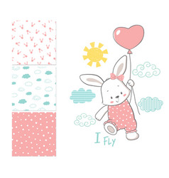 little bunny is flying in a balloon surface vector image vector image