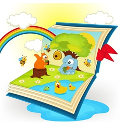 magic book animals in the glade vector image vector image