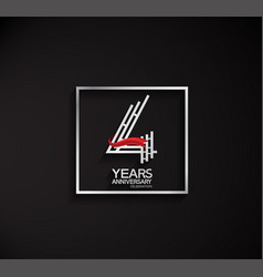 4 years anniversary logotype with square silver vector