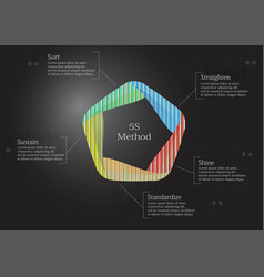 5s method infographic template with pattern fill vector image