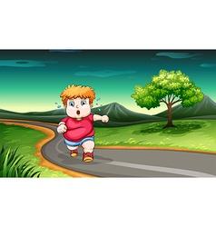 A young boy jogging vector