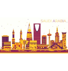 Abstract Saudi Arabia Skyline with Color Landmarks vector