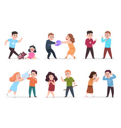 angry kids bad boys and girls confronting and vector image