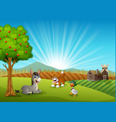animals farm activity in the morning vector image