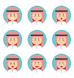Arabic avatar with various expression vector