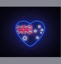 australian flag in the form of a heart neon sign vector image