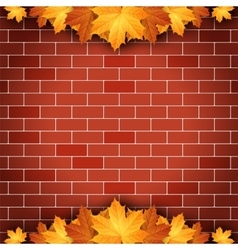 Autumn background with maple leaves on brick wall vector image