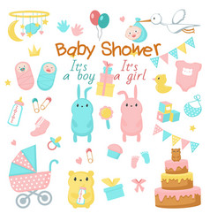 baby shower icon set vector image