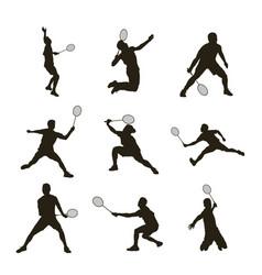 Badminton player silhouette vector