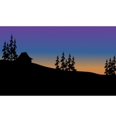 Beautiful house on the hills of silhouette vector image