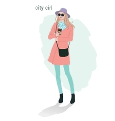 Beautiful young women girl fashion jacket in vector image vector image