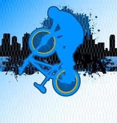 bmx cyclist template vector on urban grunge backgr vector image