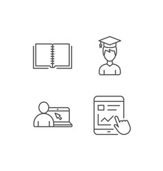 book student and online tutorial icons vector image