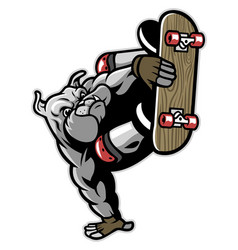 Bulldog character playing skateboard vector