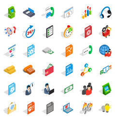 Business analytics icons set isometric style vector