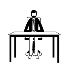 businessman sitting office desk working vector image