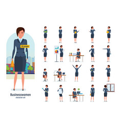 businesswoman worker in formal wear gestures vector image