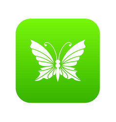 Butterfly with antennae icon green vector